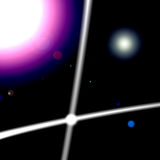 Cosmic Energy. A view of space showing cosmic energy white lines with planets behind Royalty Free Stock Photo