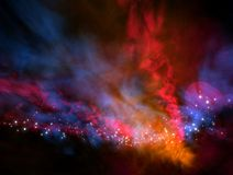 Cosmic energy flow. Galaxy with lot of stars and comic energy flow in different colors Stock Photo