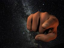 Cosmic finger pointing. A rendering of a hand over a photo of the milky way in Lyra that I took Royalty Free Stock Photos