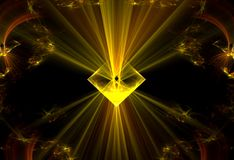 Cosmic force wallpaper. Abstract but dynamic fractal with yellow power rays of light on black cosmic background royalty free illustration