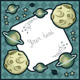 Cosmic frame with planets and stars. Royalty Free Stock Photography
