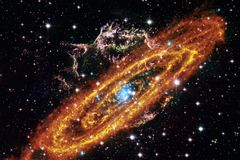 Cosmic galaxy background with nebulae, stardust and bright stars stock images