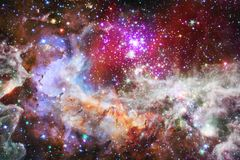 Cosmic galaxy background with nebulae, stardust and bright stars royalty free illustration