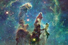 Cosmic galaxy background with nebulae, stardust and bright stars stock photography