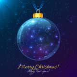Cosmic glass ball with Merry Christmas sign Royalty Free Stock Photo