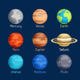 Cosmic icon set of planets solar system Royalty Free Stock Photo