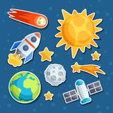 Cosmic icon set of solar system, planets and Stock Photo
