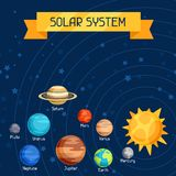 Cosmic illustration with planets of the solar royalty free illustration