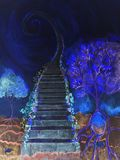 Cosmic ladder with tree of life in the blue hour.