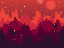 Cosmic landscape vector illustration. Royalty Free Stock Image