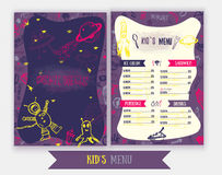 Cosmic meals Kids menu. Cute colorful hand drawn vector template. Design for party, cafe with monsters, astronaut. Royalty Free Stock Photos