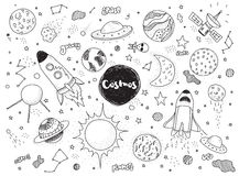 Cosmic objects set. Hand drawn vector doodles. Rockets, planets, constellations, ufo, stars, etc. Space theme. Royalty Free Stock Photography