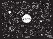 Cosmic objects set. Hand drawn vector doodles. Rockets, planets, constellations, ufo, stars, etc. Space theme. Stock Images