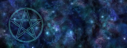Cosmic Pentacle Deep Space Web Banner vector illustration