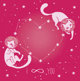 Cosmic poster for love with doodle cat-astronauts floating in space Royalty Free Stock Images
