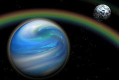 Cosmic Rainbow. Digital render of a fantasy space scene with planets and rainbow vector illustration