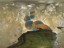 Cosmic Rays. Planets Vector Illustration