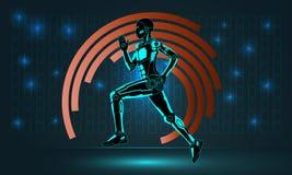 Cosmic robot runner Stock Photo