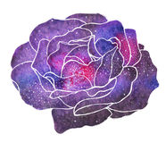 Cosmic rose. Hand-drawn flower with galaxy. vector illustration