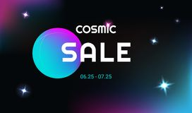 Cosmic sale vector realistic and futuristic space background wit Stock Photography