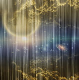 Cosmic Scene on Curtain Royalty Free Stock Image
