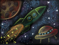Cosmic scene illustration Royalty Free Stock Image