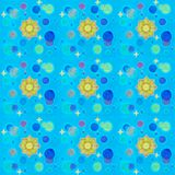 Cosmic seamless pattern. Blue background with gold stars, sun and blue planet. royalty free stock photo