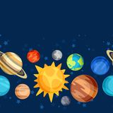 Cosmic seamless pattern with planets of the solar Royalty Free Stock Photography