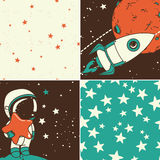 Cosmic set: astronaut, rocket and starry seamless backgrounds Stock Images