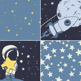 Cosmic set: astronaut, rocket and starry seamless backgrounds Stock Image