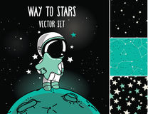 Cosmic set: astronaut, rocket and starry seamless backgrounds Royalty Free Stock Images