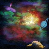 Cosmic sky with clouds. Deep cosmic sky with stars, green clouds and planet stock illustration