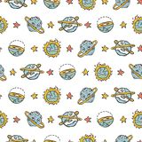 Cosmic Solar System Fantasy Space Background Seamless Vector Pattern stock illustration