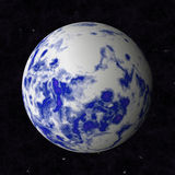 Cosmic space. Abstract oceanic planet is blue with white clouds Royalty Free Stock Image