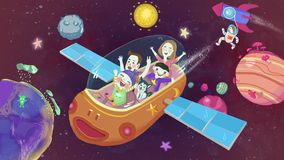 Cosmic space fantastic journey hand drawn illustration stock illustration