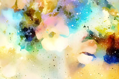 Cosmic space with flowers, color galaxy background, computer collage. Royalty Free Stock Images