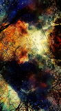 Cosmic space and stars, color cosmic abstract background and Black Fractal structure. Royalty Free Stock Photo