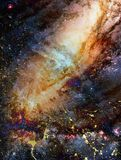 Cosmic space and stars, color cosmic abstract background. Crackle effect. Royalty Free Stock Photos