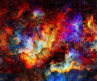 Cosmic space and stars, color cosmic abstract background. Crackle effect. Fire effect. Royalty Free Stock Images