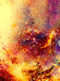 Cosmic space and stars, color cosmic abstract background. Fire effect. Royalty Free Stock Photos