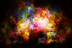 Cosmic space and stars, color cosmic abstract background. Fire effect. Stock Image