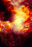 Cosmic space and stars, color cosmic abstract background. Fire effect in space. Cosmic space and stars, color cosmic abstract background. Fire effect in space vector illustration