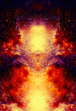 Cosmic space and stars, color cosmic abstract background. Fire effect in space. Cosmic space and stars, color cosmic abstract background. Fire effect in space Royalty Free Stock Image
