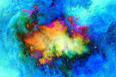 Cosmic space and stars, color cosmic abstract background. Fire effect in space. Royalty Free Stock Image