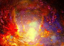 Cosmic space and stars, color cosmic abstract background. Fire effect in space. Stock Images