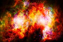 Cosmic space and stars, color cosmic abstract background. Fire effect in space. Royalty Free Stock Photos
