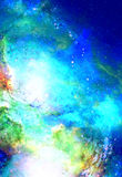 Cosmic space and stars, color cosmic abstract background. Winter effect. Copy space. Stock Image