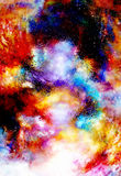 Cosmic space and stars, cosmic abstract background and glass effect. Stock Photos