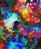 Cosmic space and stars, cosmic abstract background and glass effect. Copy space. Stock Photos