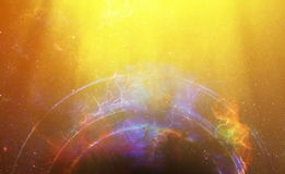 Cosmic space and stars with light circle, color cosmic abstract background. Royalty Free Stock Photography